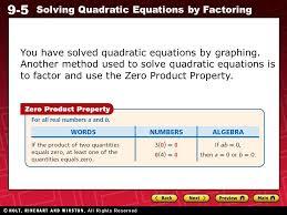 9 5 solving quadratic equations by factoring you have solved quadratic equations by graphing