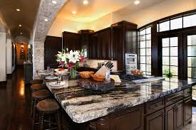 Dark Wood Kitchen Cabinets Black And Grey Granite Countertop Connected By Black Wooden