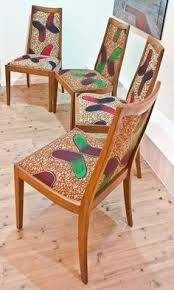 1970s g plan dining chairs reupholstered with african fabric