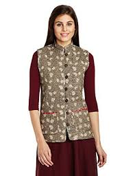 Jaypore Women's Block Printed Cotton Quilted Jacket ... & Jaypore Women's Block Printed Cotton Quilted Jacket  (JPJAPJ000083889-M_Madder and Black) Adamdwight.com