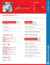 Professional Personal Resume Cv In Red Simple Design Template Stock