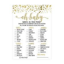 Amazon.com: 25 Gold What's In Your Purse Baby Shower Game, Funny ...