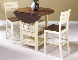 very small round drop leaf dining table with wine and glasses storage painted with white and brown color plus 2 chairs ideas
