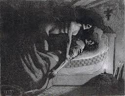 Valère Bernard - Homme au lit avec squelette | Dark art, Romantic ...