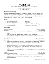 Oven Operator Resume