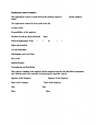 Free Employment Contract Templates Employment Contract Template