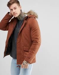 new look men s orange parka with faux fur