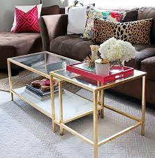 ikea glass coffee table with gold leaf