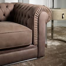 Button Couch High End Italian Nubuck Leather Button Upholstered Sofa