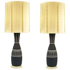 mid century modern table lamps with illuminated base in blue and milk glass for uk mid century modern table lamps
