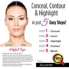 contour 15 color cream concealer makeup palette jouvenet illusion concealer palette jouvenet beauty blender sponge foundation brush instruction card