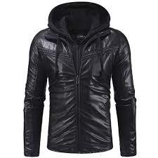 2018 new pleated design men s casual zipper hooded leather jacket leather black 3xl
