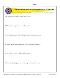 Semicolon And Independent Clauses Punctuation Worksheets