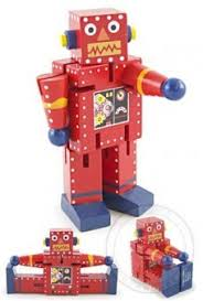 Rocky Red Robot Junior Wood Posable Best Toys for 5 Year Old Boy - TinToyArcade.com