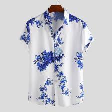 Shirt Design Flower Mens Chinese Style Porcelain Floral Printed Short Sleeve Turn Down Collar Casual Shirts