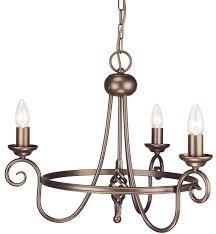 harlech dark bronze 3 light wrought iron chandelier uk made