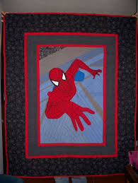 Spiderman quilt I made. All webbing is hand embroidered onto ... & Spiderman quilt I made. All webbing is hand embroidered onto applique then  sewn down by Adamdwight.com