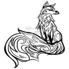 Nálepka Stylizovaná Liška Linie černobílé Tetování