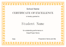 Achievement Awards Templates Student Excellence Award Free Student Excellence Award