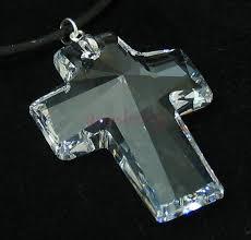 clear large swarovski crystal cross pendant
