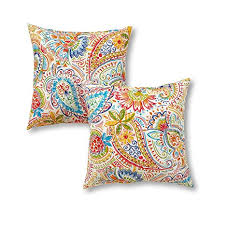 greendale home fashions 17u0026quot outdoor accent pillows in painted paisley set of 2 outdoor throw pillows i45