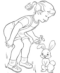 Small Picture Little Girl Feeding Easter Bunny Coloring Page Bunny Coloring