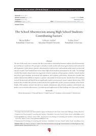 the school absenteeism among high school students contributing the school absenteeism among high school students contributing factors pdf available