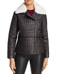 jackets in black via spiga popular faux fur trim quilted moto jacket za67450