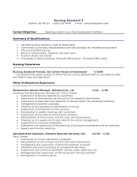 Resume Templates Objective For Certified Nursing Assistant Resume