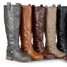 journee collection women s wide calf ankle strap knee high riding boots