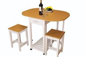 3 Piece Kitchen Island Breakfast Bar Set With Casters Drop Down