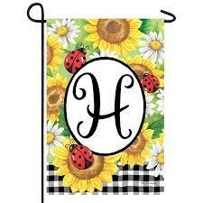 sunflower ladybugs monogram garden flag
