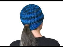 Free Crochet Hat Pattern With Ponytail Hole Beauteous Ponytail Beanie Free Pattern Workshop YouTube