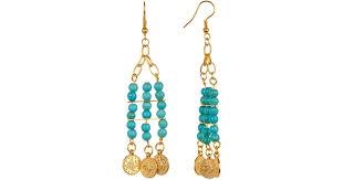 lyst tmrw studio gold plated beaded turquoise fringe chandelier earrings in metallic