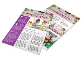 Newsletters Templates Happy Daycare Newsletter Template