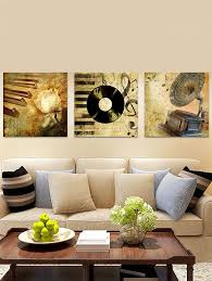 qe269 retro record printed unframed canvas paintings antique brown 3pc 16 16 inch no frame