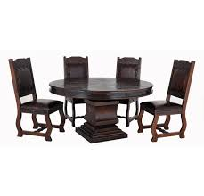 granada rustic round pedestal dining table set w 4 chairs