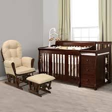 storkcraft 2 piece nursery set portofino convertible crib changer combo and bowback hoop glider ottoman in cherry free