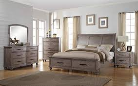 Langley 5 Piece Eastern King Storage Bedroom Set with Chest in Weathered Wood Grain Grey