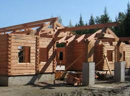 wood home fabrication Hybrid Log and Timber home construction