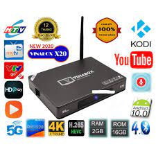 Android Tivi Box Vinabox X20 4G, 32G,Voice Bluetooth 4.0, Android 10