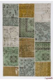 4 x 6 122x183 cm mustard yelllow light blue light green and beige color patchwork rug