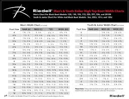 Riedell High Top Skates Sizing Chart