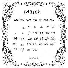 Calendar 2016 March Kleurplaat Stockfoto Nuarevik 93967822