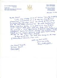 letter of appreciation from r k dr ranjit bhargava padma shri