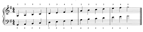 Piano Scale Finger Chart Two Octave Major Scales Ii