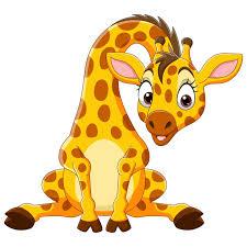 vector cartoon funny baby giraffe sitting