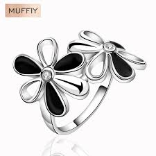 access career promotion shop for promotional access career on europe and the united states style flowers zircon ring plant flower ring office silver plated zirconia gift women dress access