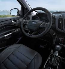 ford escape 2017 black. escape titanium interior with charcoal black leather-trimmed seating. the steering wheel and gear ford 2017