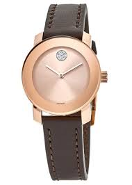 bold rose gold tone brown leather strap women s watch